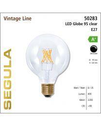 Segula LED Globe 95 clear CRI>90 2200K E27 500 lm