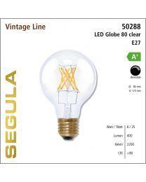 Segula LED Globe 80 clear CRI>90 2200K E27 500 lm
