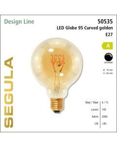 Segula LED Globe 95 Curved golden CRI>90 2200K E27 140 lm